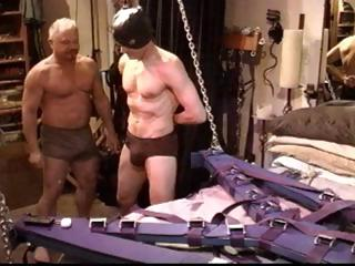 Gay slave gets his bushwa tortured and his balls busted by his master