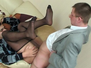 Sex-addicted co-workers almost slight sheen tights having cock-break in...