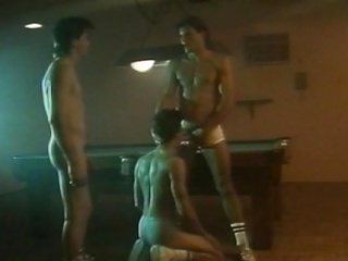 Three hot hunks had an all-male cock sucking action at a difficulty billiard...