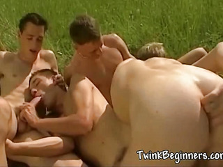 Four morose hot guys having an orgy
