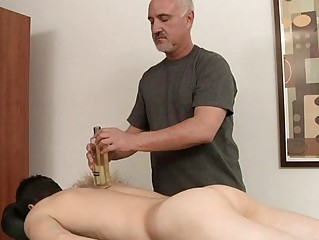 Half-starved homosexual gets his hard cock oiled added to massaged
