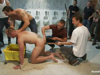 Crestfallen gay man doesn't deserves sperm yet and the guys around him are treating his fit body like garbage, just the way he likes it. Why use the urinals when they can use his facet anent piss on the top of so they put him down on the top of the floor, grab his neck and piss all over his facet before sticking his head in a bucket full with urine.