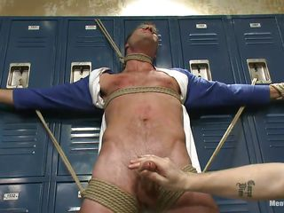 Blindfolded with duct tape and tied hard on those lockers along to sexy cheerful male Cameron experiences along to intensity of two fingertips on his hard penis. These cheerful executors are not downward to let him succeed in away easily and take full advantage of his tied body. Now Cameron hangs upside down, wanna know why?