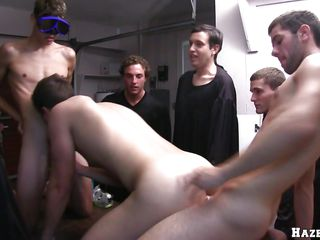 Three guys are having swimming glasses put on, then one of them is being put on a table, with an increment of begins to suck another guy's dick. A guy places his cock inside of him, with an increment of fucks him while continuing to suck. A difficulty one that blows the cock, is changing his position with an increment of gets humped from behind.
