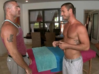 Massaging his taut abdomen with an increment of huge dick
