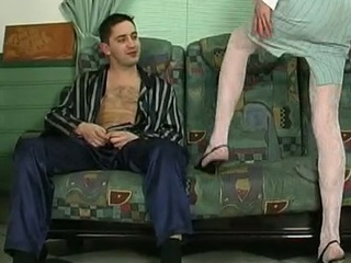 Horny sissy guy in a woman business suit getting his mercenary mingy butt packed hard