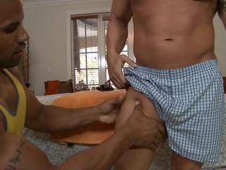 Sexy close off is getting his pecker sucked by gay masseur