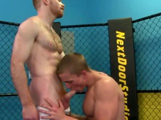 Gay jock works jocks dick during their work out