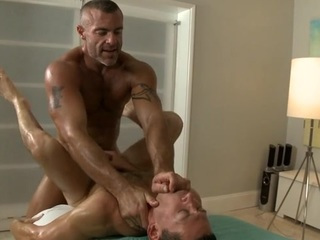 Twink is giving a passable oral sex for cute gay masseur